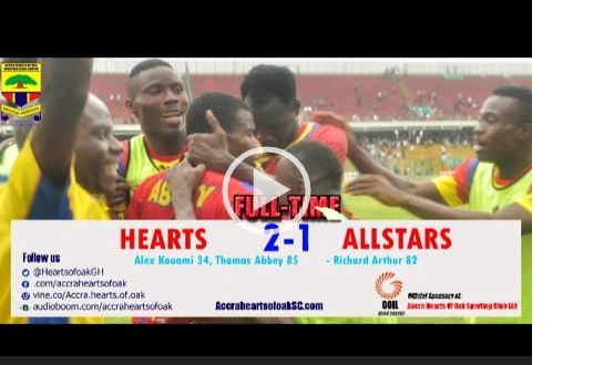VIDEO: Watch Goals As Hearts Beat Wa All Stars 2-1