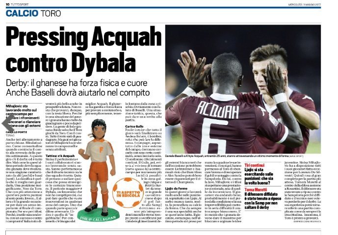 Torino coach tips Afriyie Acquah-Baselli combo to halt Juventus onslaught