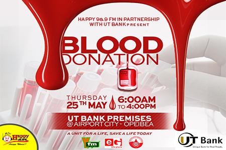 HAPPY FM, UT BANK BLOOD DONATION EXERCISE COMES OFF THURSDAY