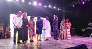 Dignitaries on stage to declare the campaign launch