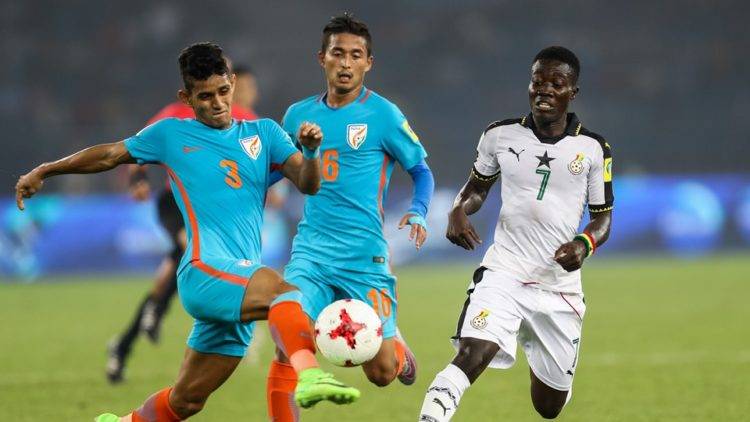 Ghana thumped hosts India 4-0  to reach the round of 16 of the FIFA U17 World Cup.