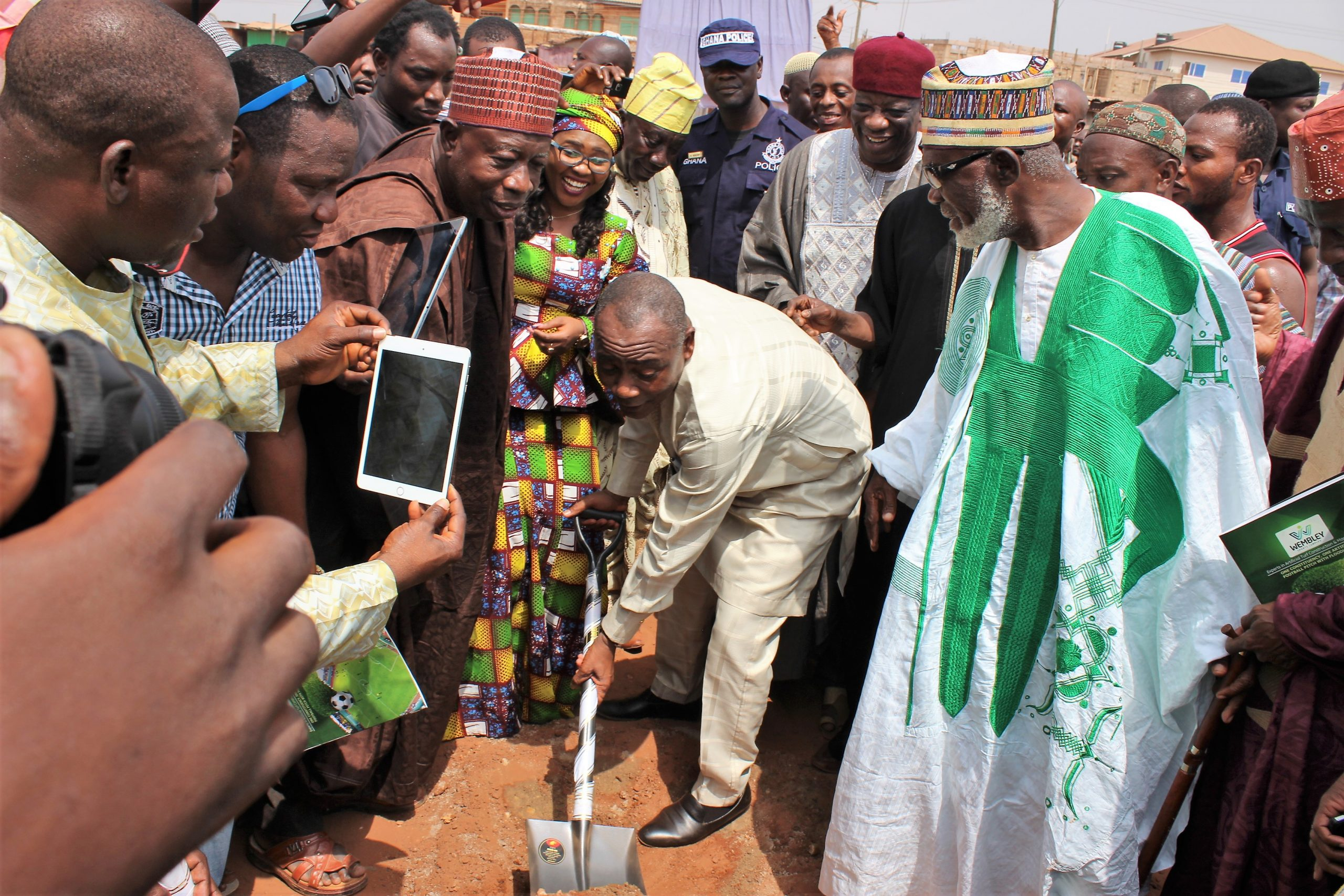 Boniface breaks ground for one constituency one astroturf at Madina