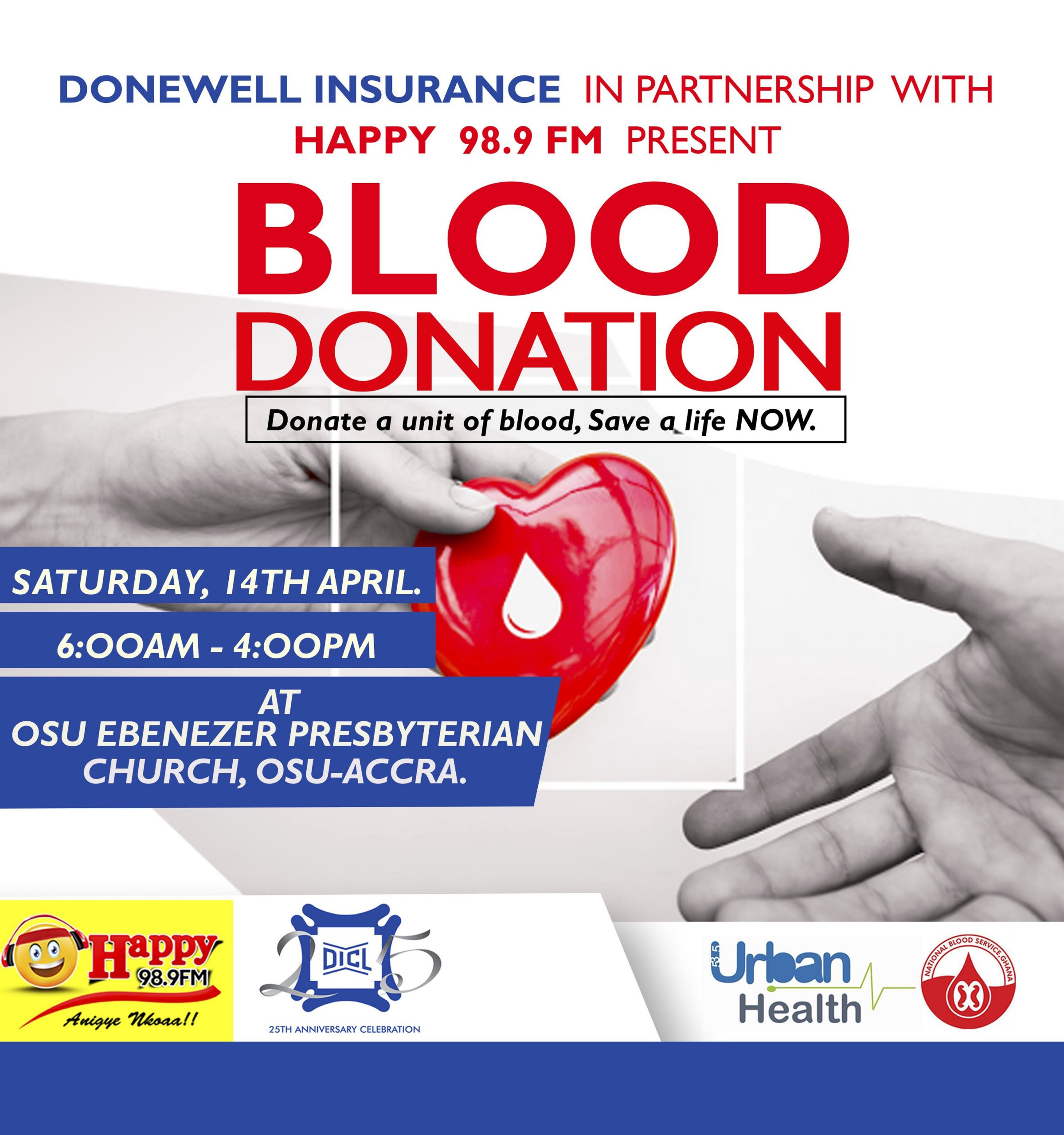Donewell Insurance, Happy FM Ready to Stock National Blood Bank