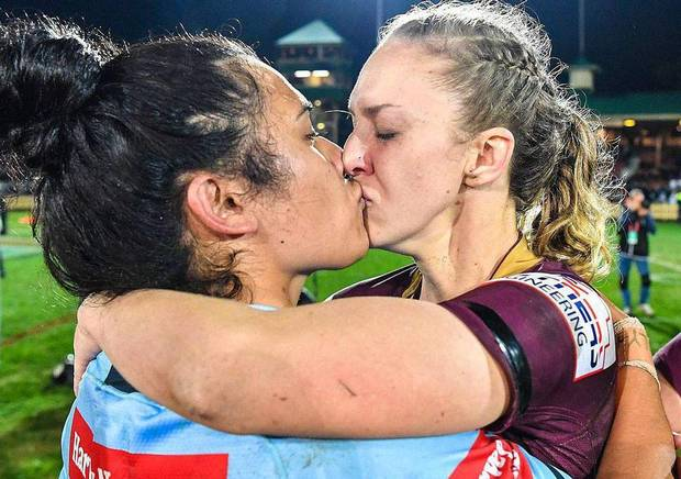 Women rugby players' kiss prompts outpouring of solidarity after criticism: 'Welcome to 2018'