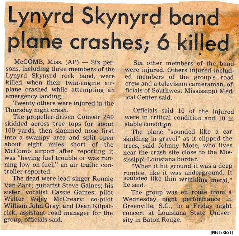 Image result for lynyrd skynyrd plane crash