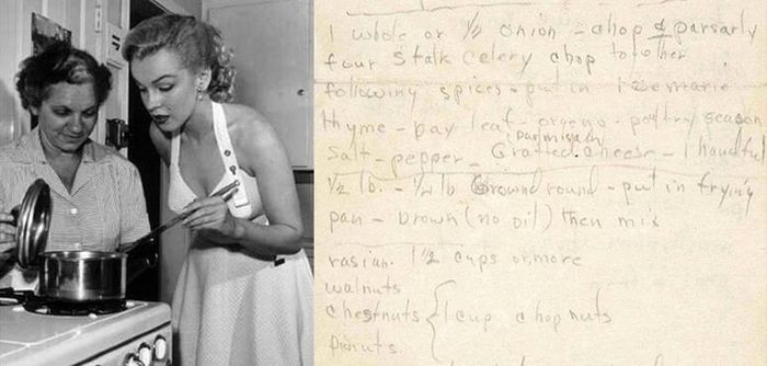 Handwritten Thanksgiving Recipe from Marilyn Monroe, of course