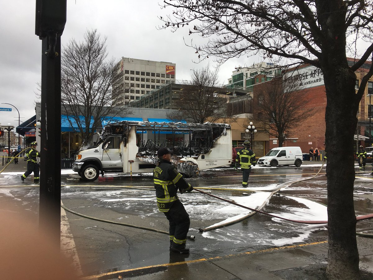 Mini bus catches fire during rush hour traffic in Victoria