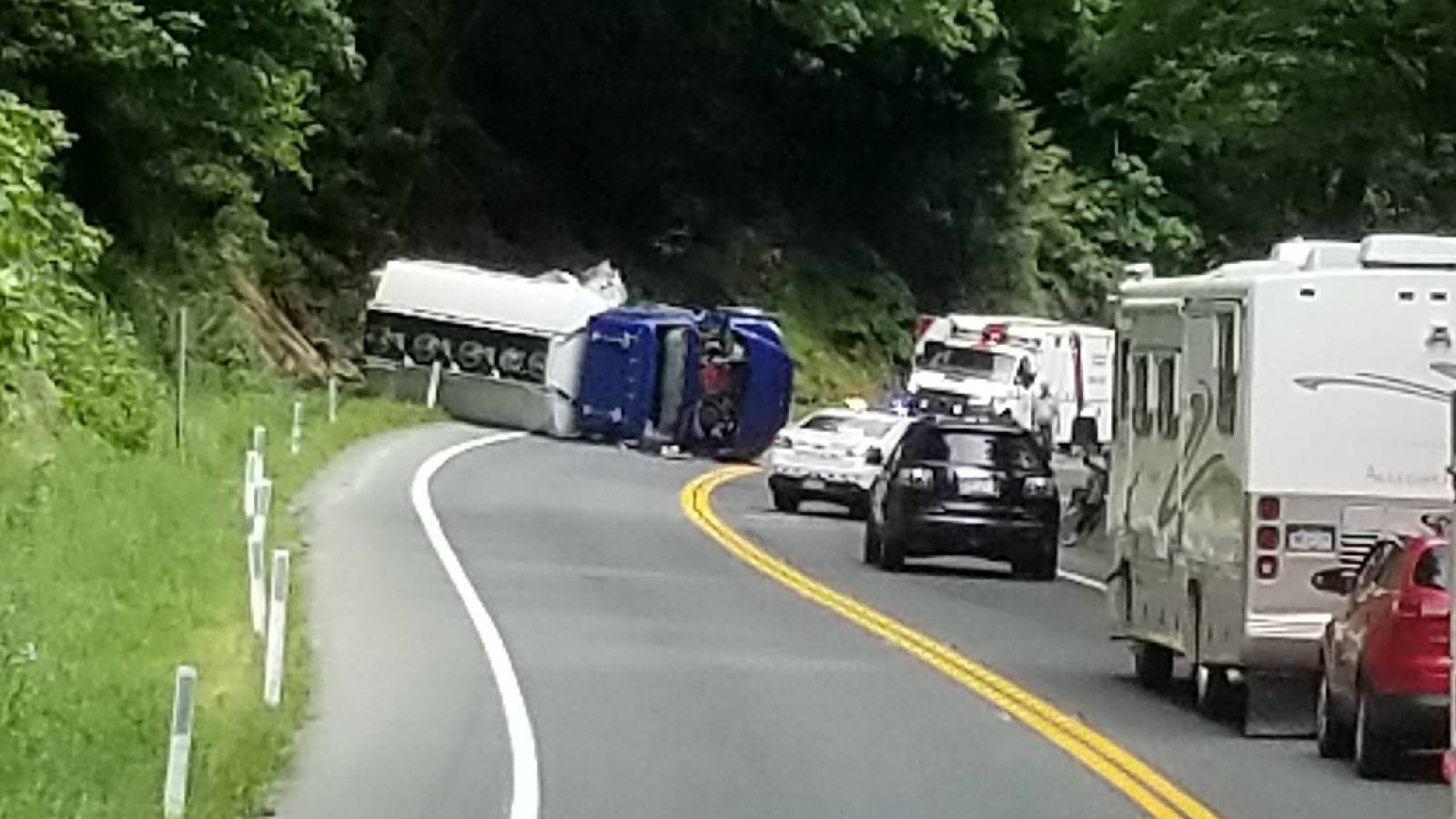 Malahat to be closed for hours after fuel truck crash and spill