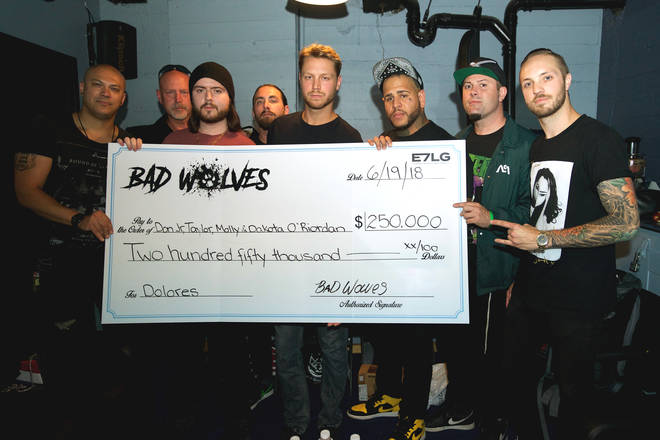 Bad Wolves Present Check For $250,000 To Family Of Late Cranberries Singer Dolores O'Riordan.