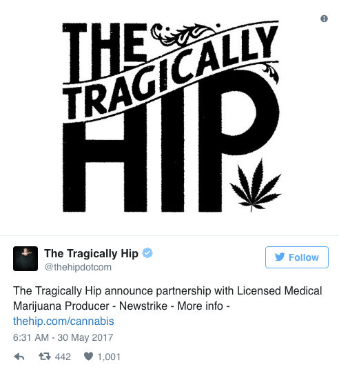 Tragically Hip songs will name strains of 'Up Cannabis'
