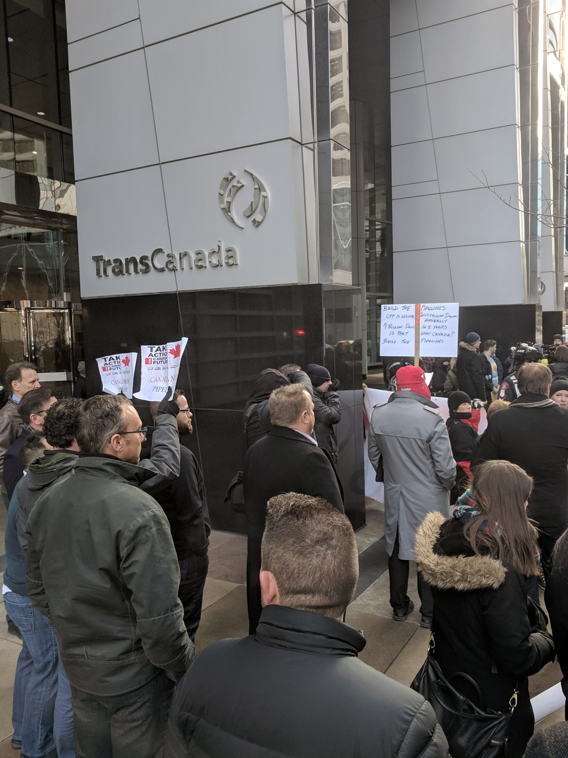 Rally held at TransCanada building in downtown Calgary