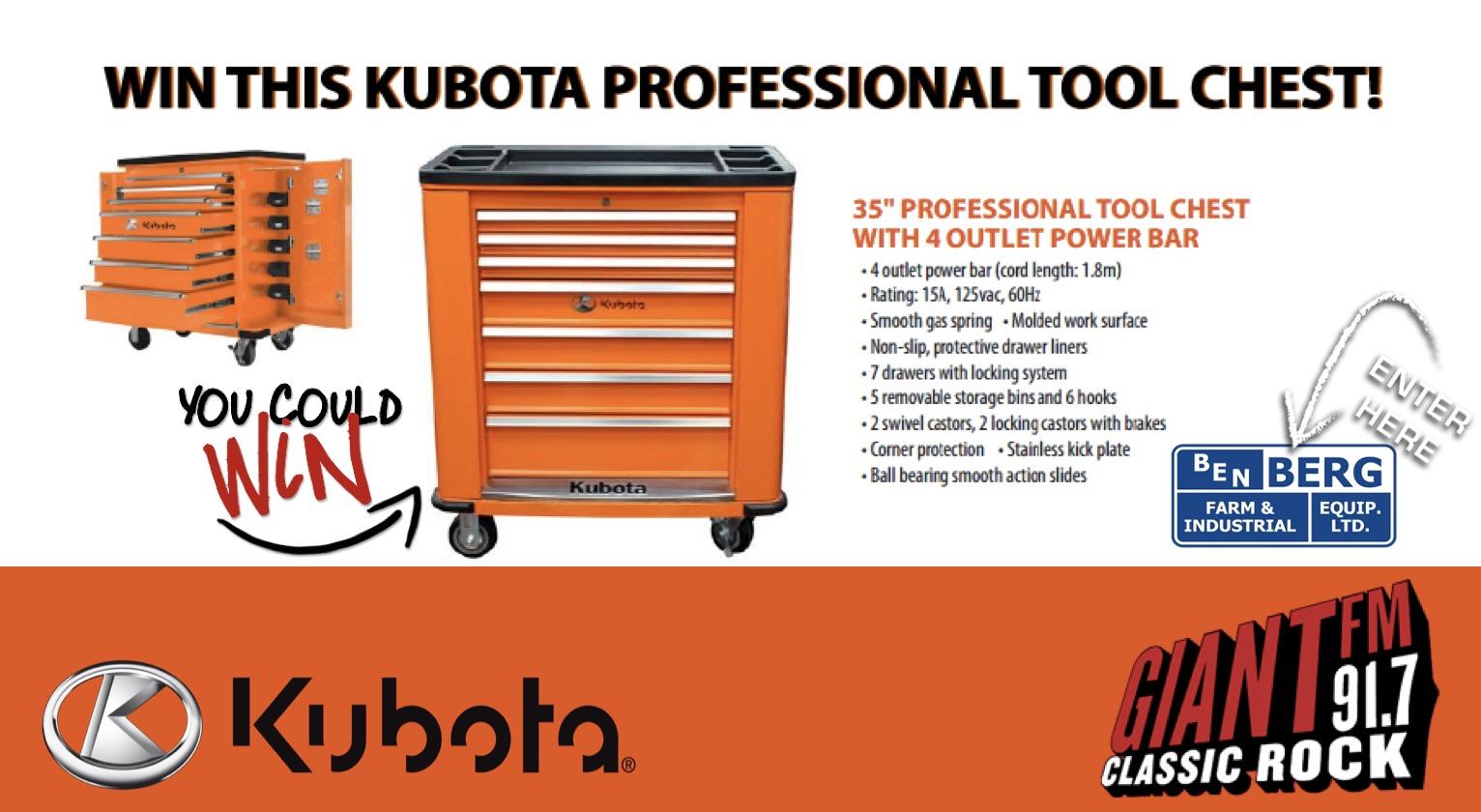 KUBOTA Tool Box Giveaway this Saturday at Ben Berg!