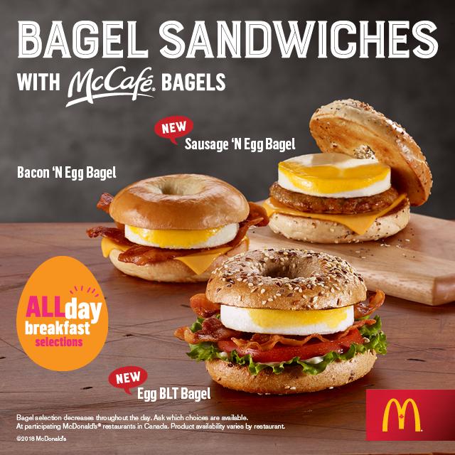 McDonalds All Day Breakfast Bagels