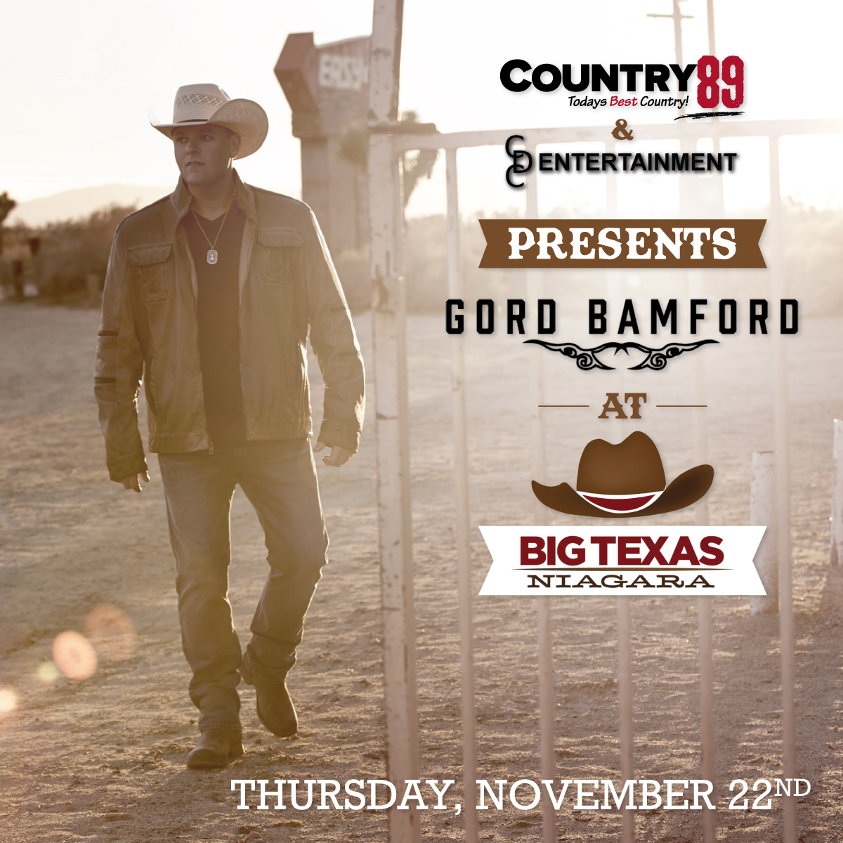 Country 89 Presents Gord Bamford at Big Texas – Win Ticket