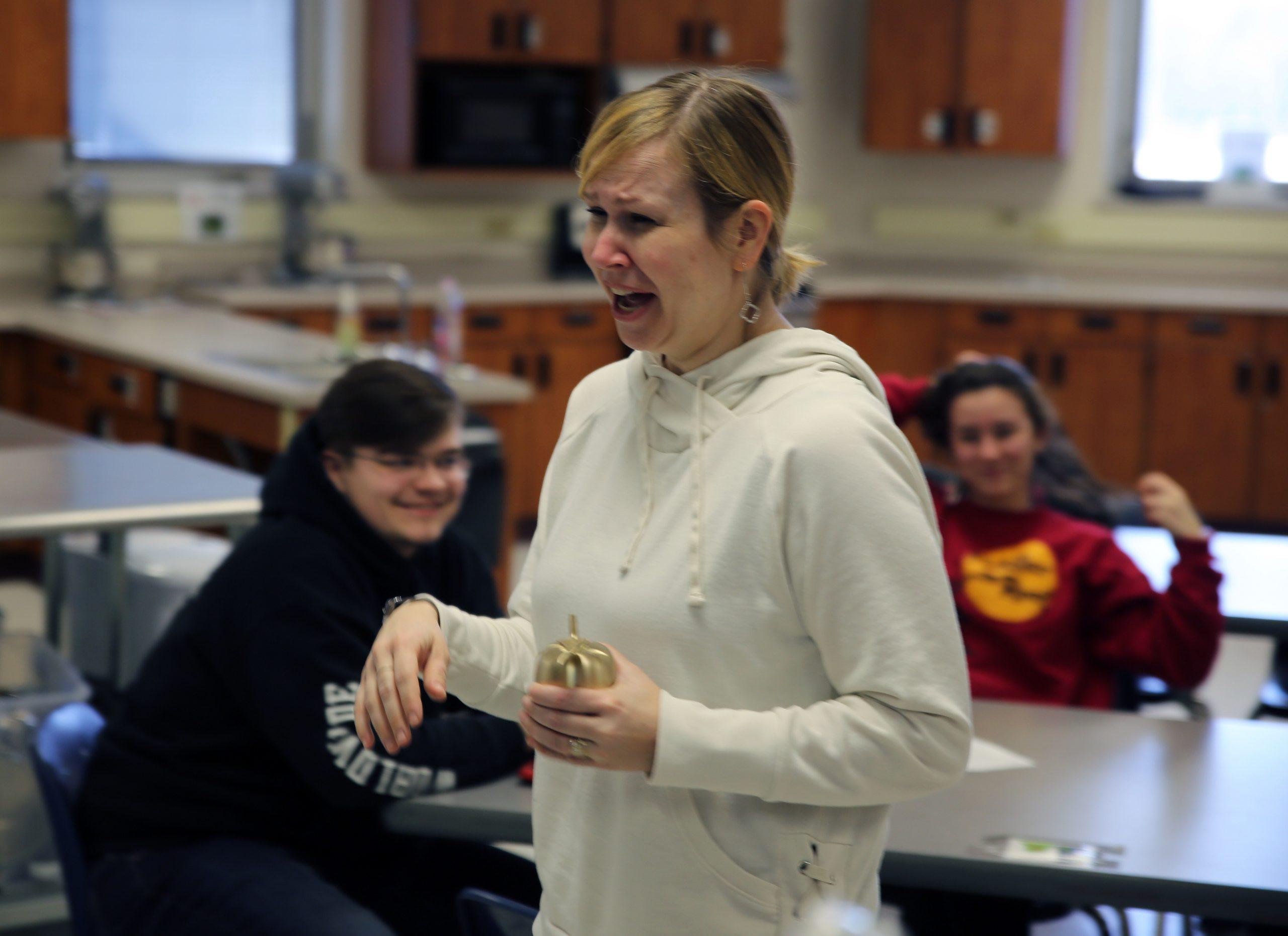 Pulaski teacher learns of award during class