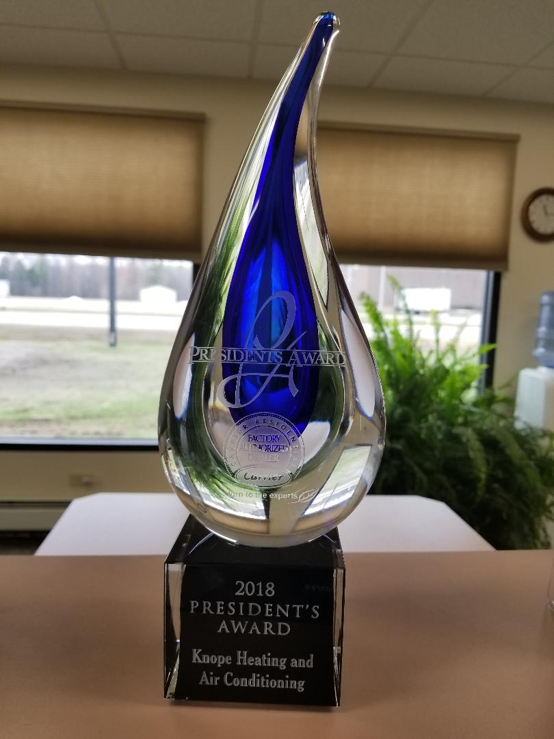 Knope Heating & Air Conditioning receives 2018 President's Award