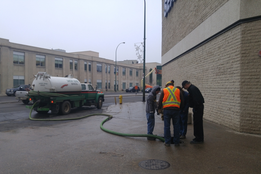 Sewer back up creates unpleasant smell, damage in Regina's Cornwall Centre