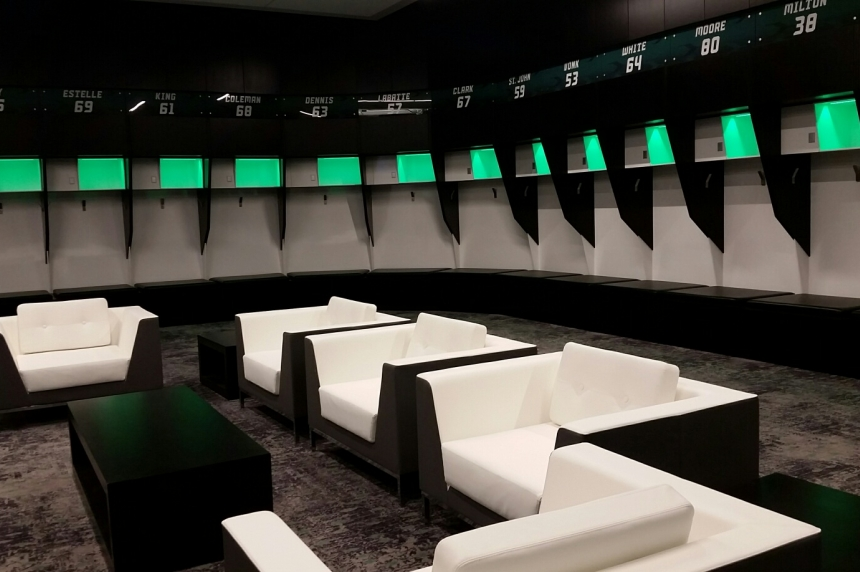 Take a look inside the Riders locker room, training facilities