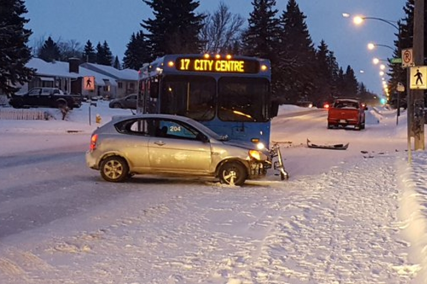 Driver issued ticket after crash with Saskatoon city bus