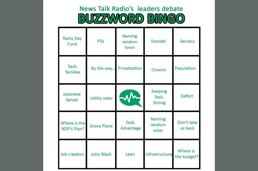 Play along with Buzzword Bingo for the Sask. leaders' debate