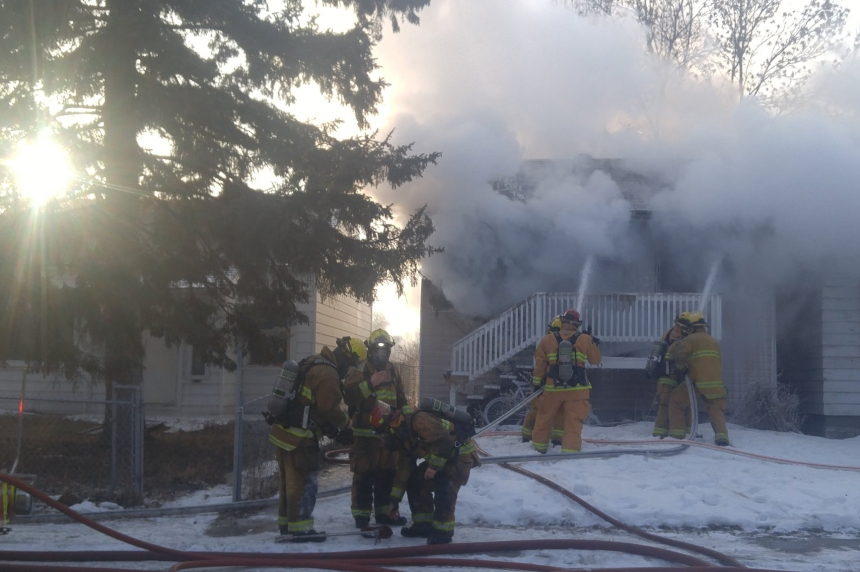 House goes up in flames in Regina's North Central