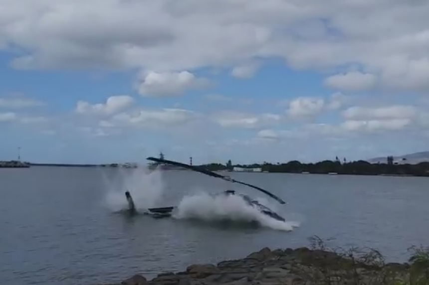 VIDEO: Pearl Harbor helicopter crash leaves 1 hurt