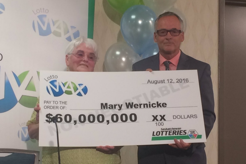Saskatchewan's biggest lottery winner collects her prize
