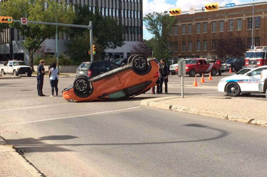 Car flips onto its roof after 2 vehicle crash in Regina