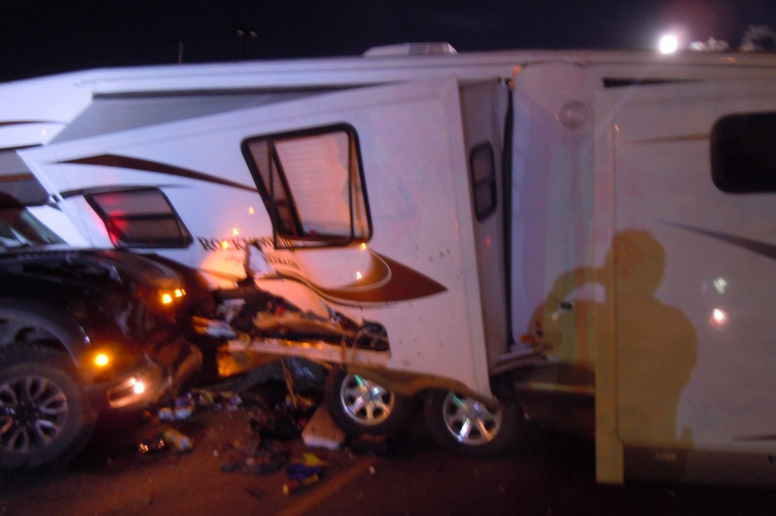Family OK after truck hits camper in Swift Current parking lot