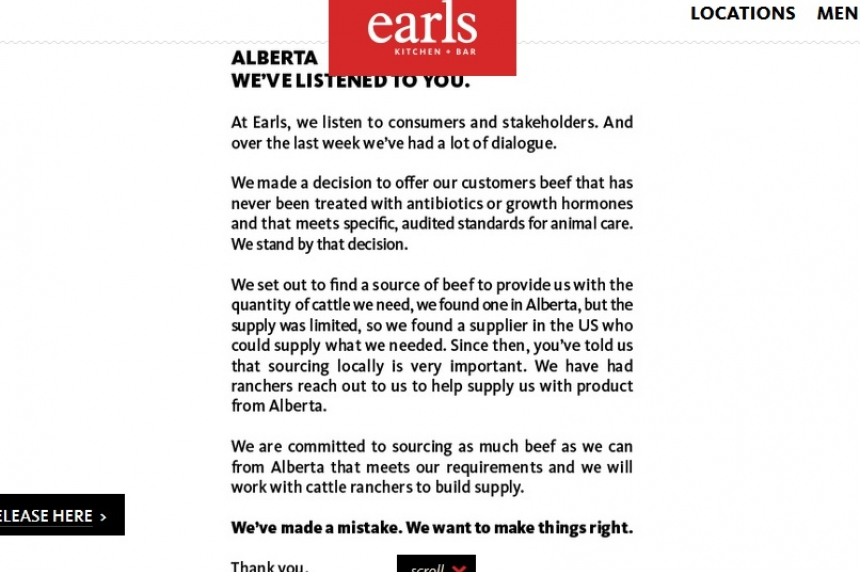 'Alberta, we've listened': Earls backtracks on beef decision