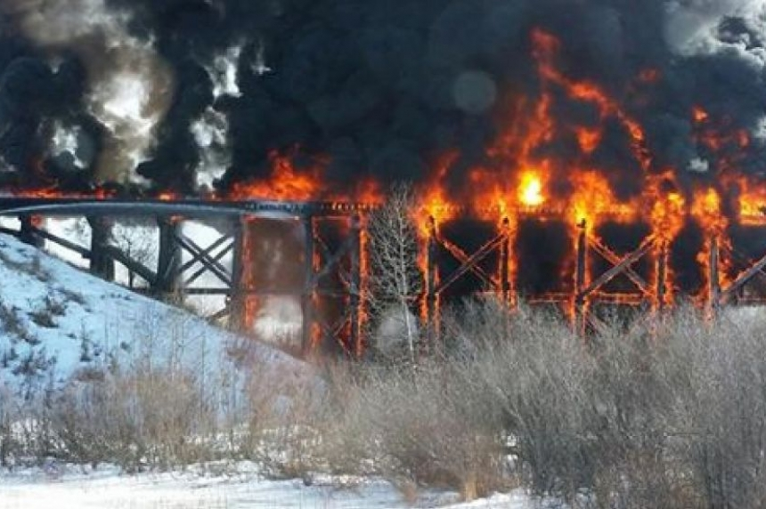 UPDATE: Century-old Porcupine Plain train bridge goes up in flames