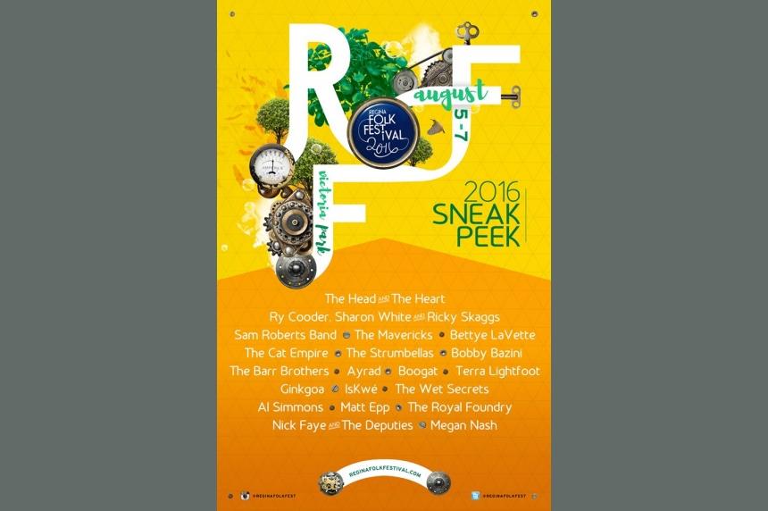 Regina Folk Festival's 2016 lineup includes Sam Roberts Band, Ricky Skaggs