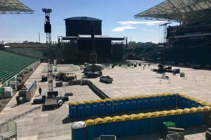 Guns N' Roses set up complete at Mosaic Stadium