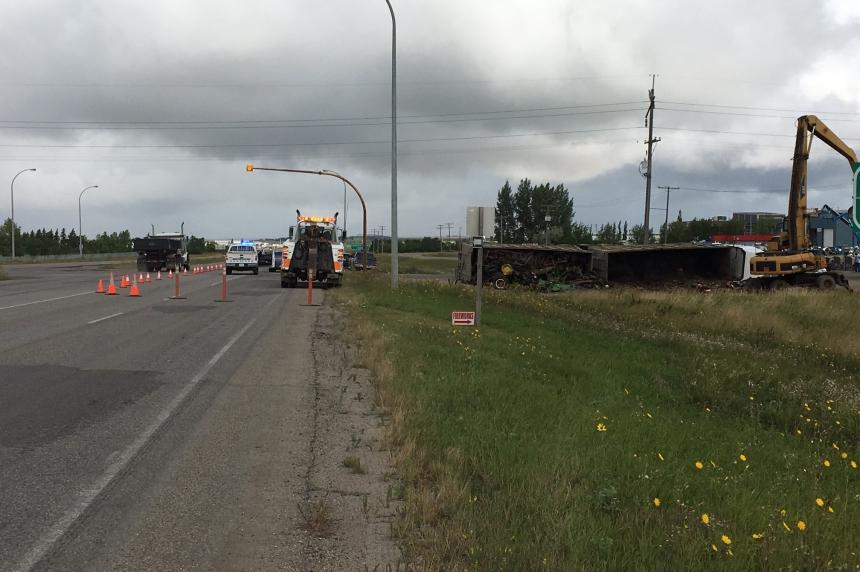 Transport truck rolls north of Regina