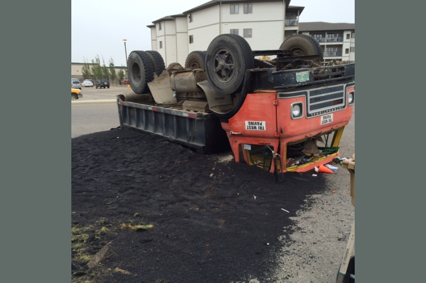 Truck ends up on roof on east Regina road