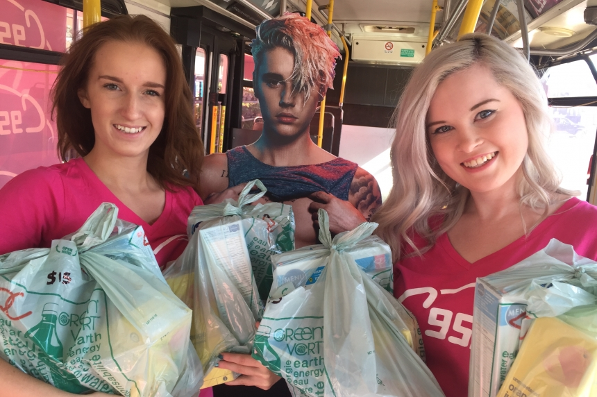 Bieber fans stuff Saskatoon Transit bus with food bank donations