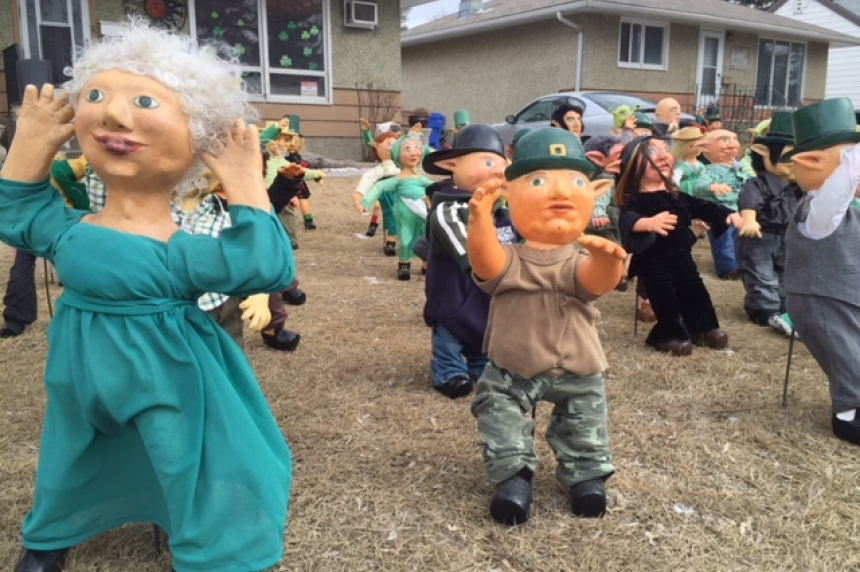 Crowd of leprechauns takes over front lawn in Regina