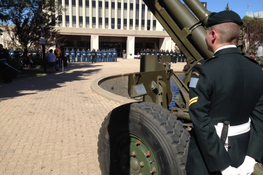 Canadian Armed Forces march in Regina's 1st Freedom of the City parade