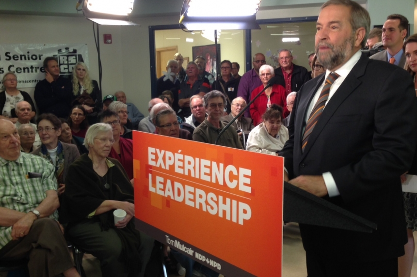 Mulcair announces NDP's plan to reduce prescription costs at Regina campaign stop