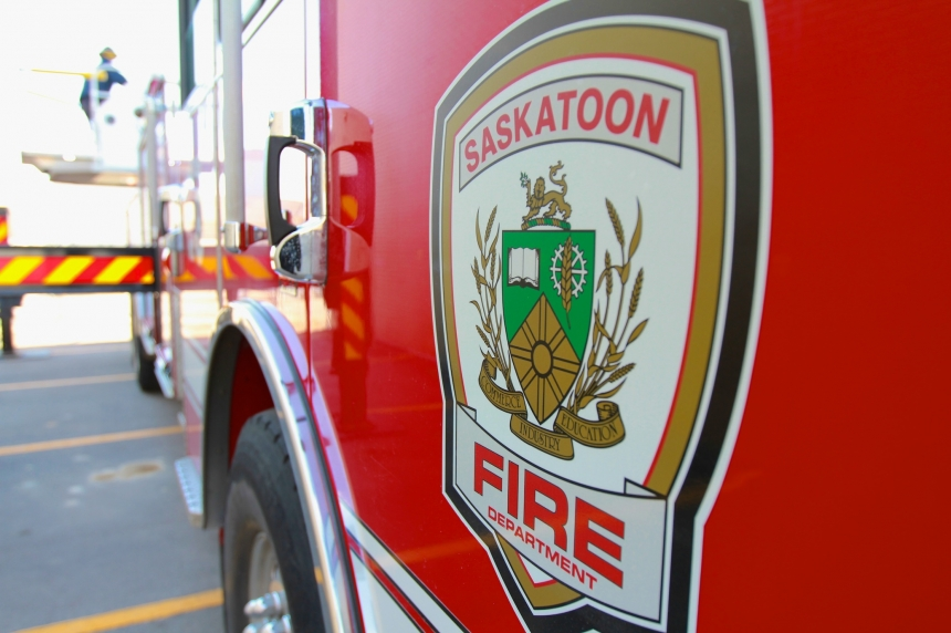 Semi, dump trailer catch fire on highway near Saskatoon