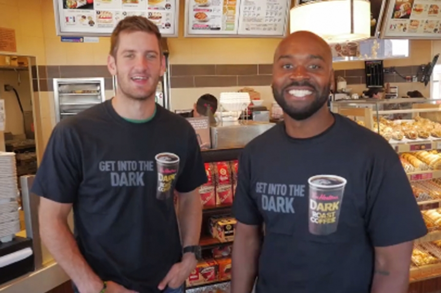 Roughrider quarterbacks pass double-doubles to Regina Tim Hortons' customers