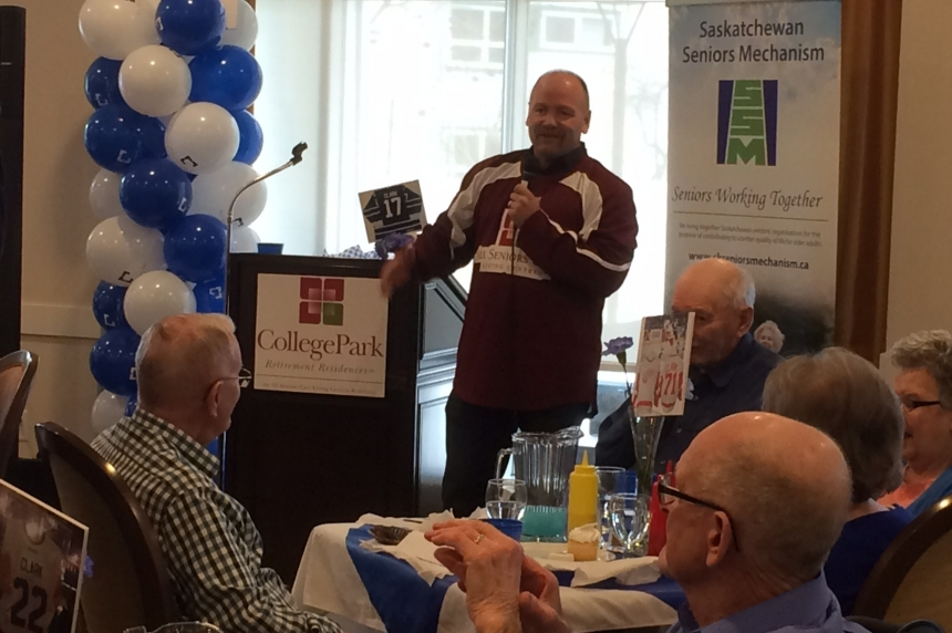 Former NHL star Wendel Clark talks to seniors in Regina