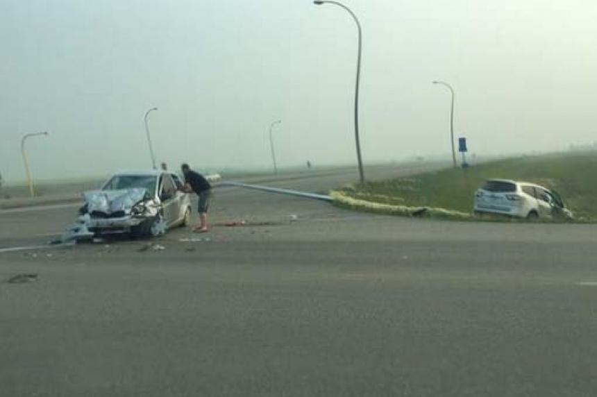 4 people seriously injured in crash east of Regina