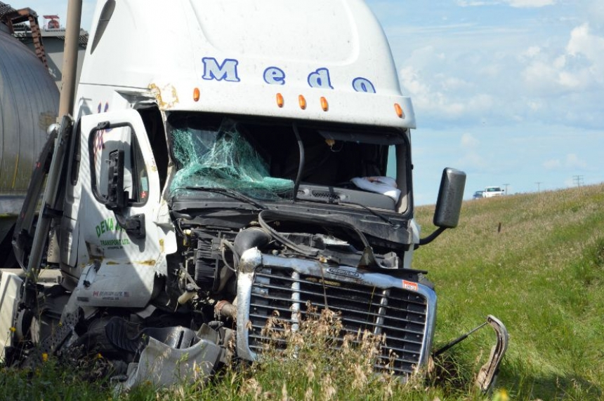 Semi hits train just outside North Battleford; 2 people injured