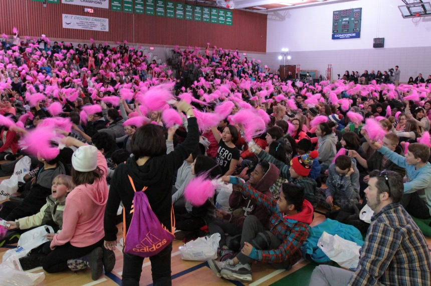 Pink wave brings anti-bullying message to Sask. students