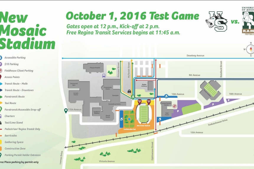 No public parking at Evraz for the test game at new Mosaic Stadium