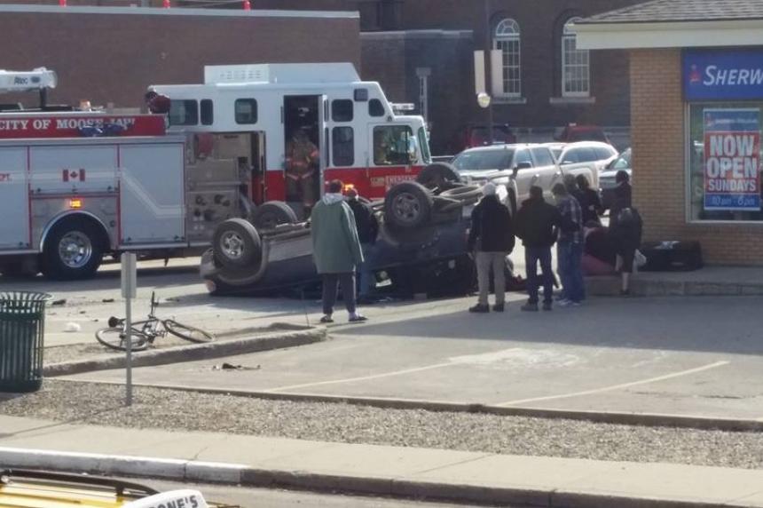 Vehicle flips in Moose Jaw crash