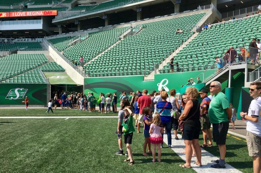 Roughriders' locker room a hit at I Love Regina Day