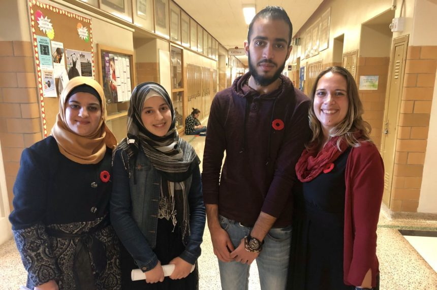 Syrian students share stories at Remembrance Day service