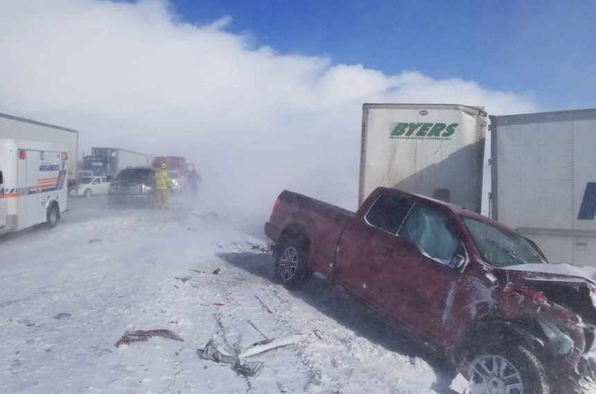 Multiple crashes due to blowing snow, icy highways
